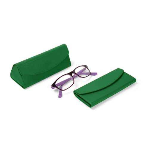 Foldable glasses case - Light Green - Smooth Leather