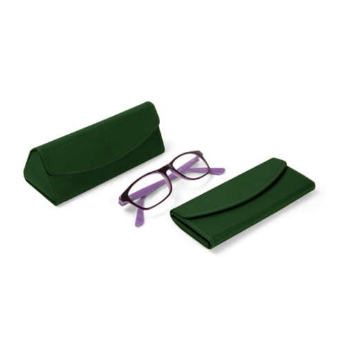 Foldable glasses case - Dark Green - Smooth Leather