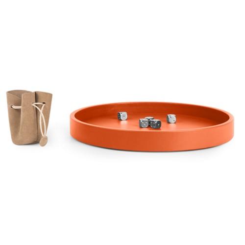 Dice Tray - Orange - Smooth Leather