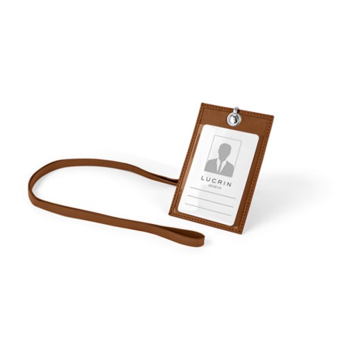 ID Badge Holder - Tan - Smooth Leather