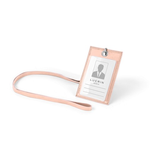 ID Badge Holder - Nude - Smooth Leather
