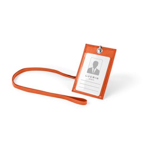 ID Badge Holder - Orange - Smooth Leather