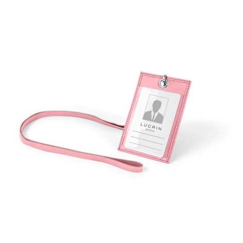 ID Badge Holder - Pink - Smooth Leather