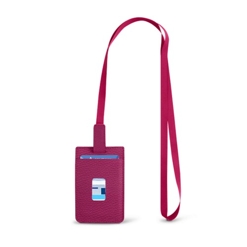 Lanyard Badge Holder - Fuchsia  - Granulated Leather