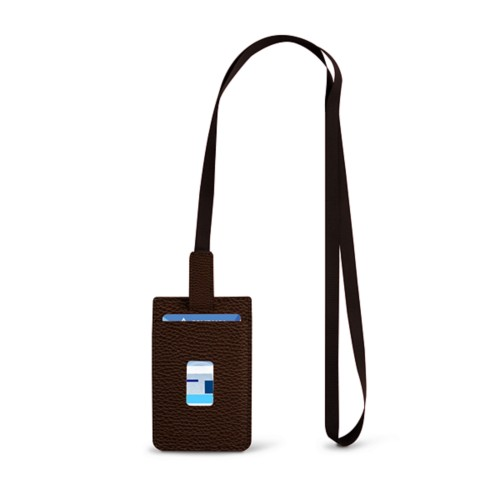 Lanyard Badge Holder - Dark Brown - Granulated Leather