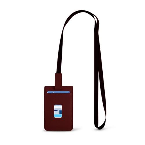 Lanyard Badge Holder - Burgundy - Smooth Leather