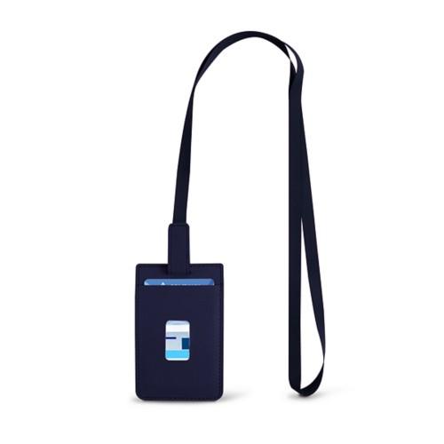 Lanyard Badge Holder - Navy Blue - Smooth Leather