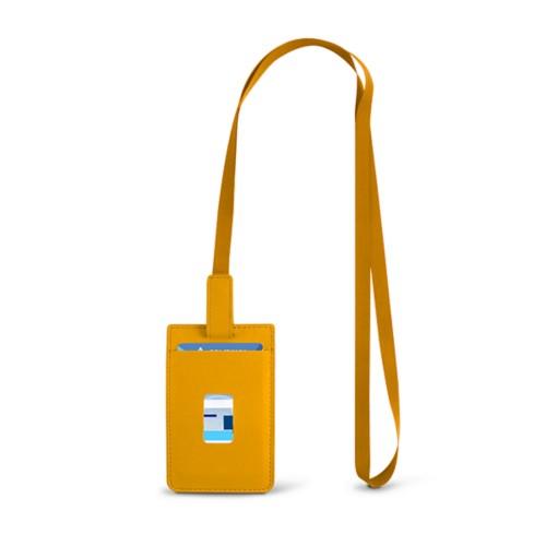 Lanyard Badge Holder - Sun Yellow - Smooth Leather