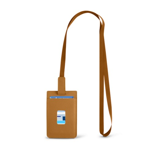 Lanyard Badge Holder - Natural - Smooth Leather