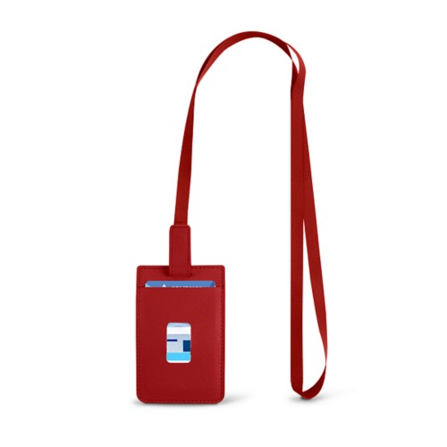 Lanyard Badge Holder - Red - Smooth Leather