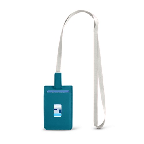 Lanyard Badge Holder - Turquoise - Smooth Leather