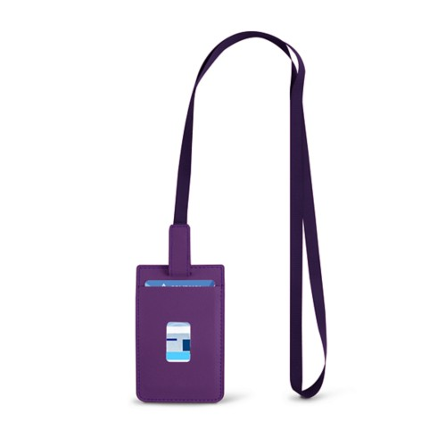 Lanyard Badge Holder - Lavender - Smooth Leather