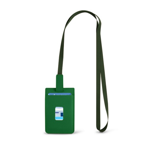 Lanyard Badge Holder - Light Green - Smooth Leather