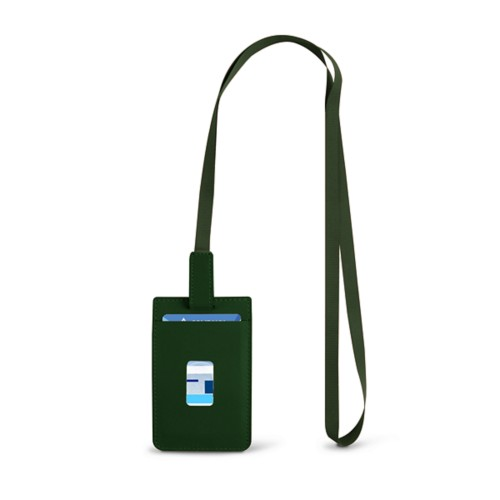Lanyard Badge Holder - Dark Green - Smooth Leather