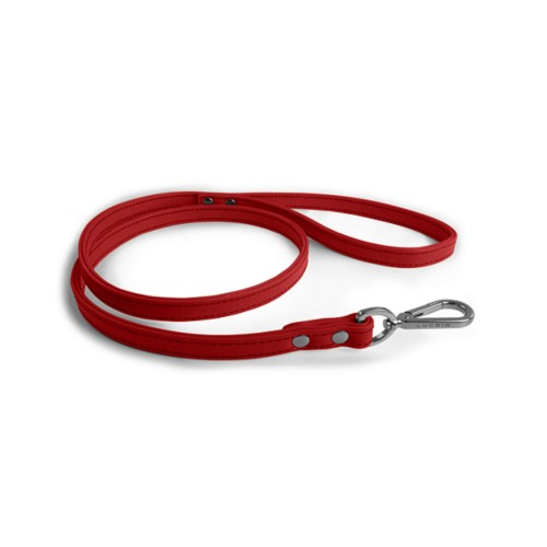 Short Dog Leash - Red - Smooth Leather