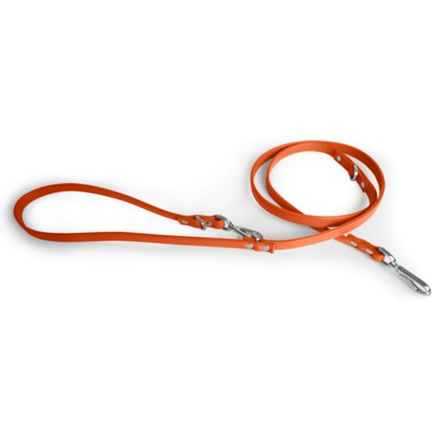 Long Dog Leash - Orange - Smooth Leather