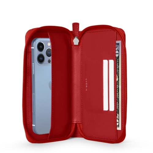Zippered Wallet Purse - Red - Smooth Leather