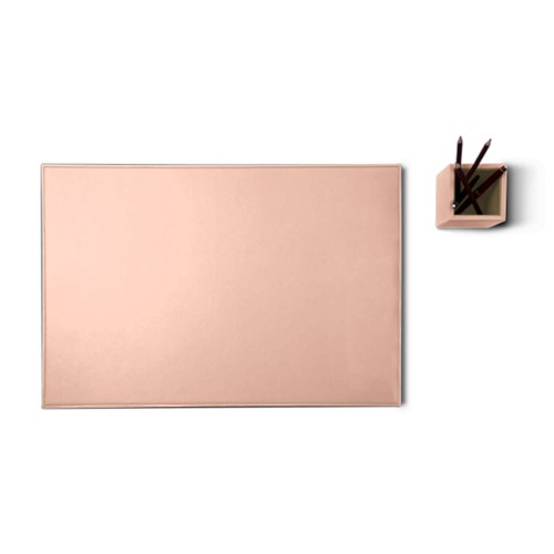 Silver edition desk set - Nude - Smooth Leather