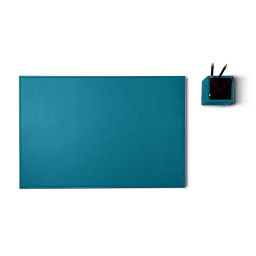 Silver edition desk set - Turquoise - Smooth Leather