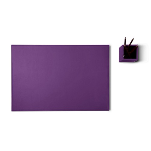 Silver edition desk set - Lavender - Smooth Leather
