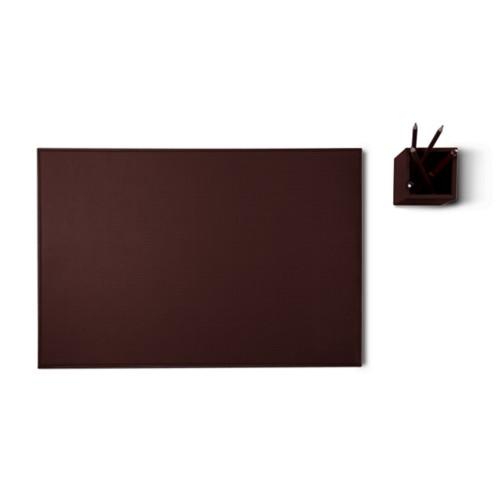 'Silver Edition' Schreibtischset - Dunkelbraun - Pflanzlich Gegerbtes Leder