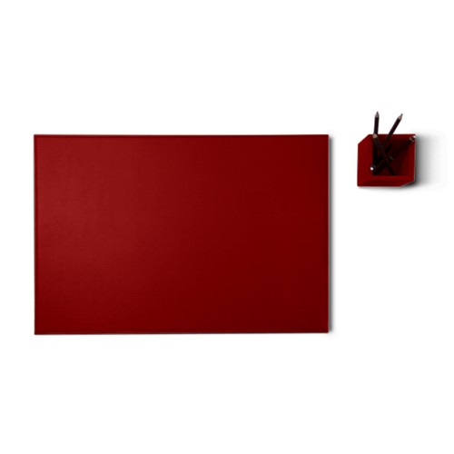 Silver edition desk set - Carmine - Vegetable Tanned Leather