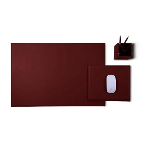 Gold Edition desk set - Burgundy - Smooth Leather