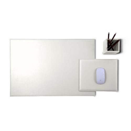 Gold Edition desk set - White - Smooth Leather