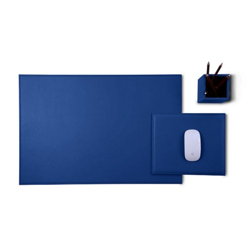 Gold Edition desk set - Royal Blue - Smooth Leather