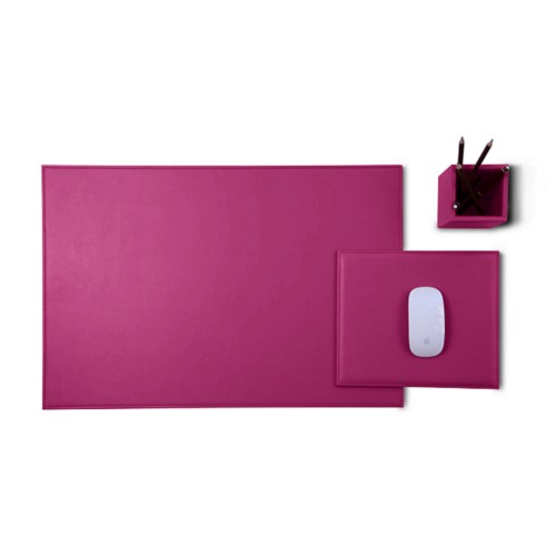 Gold Edition desk set - Fuchsia  - Smooth Leather