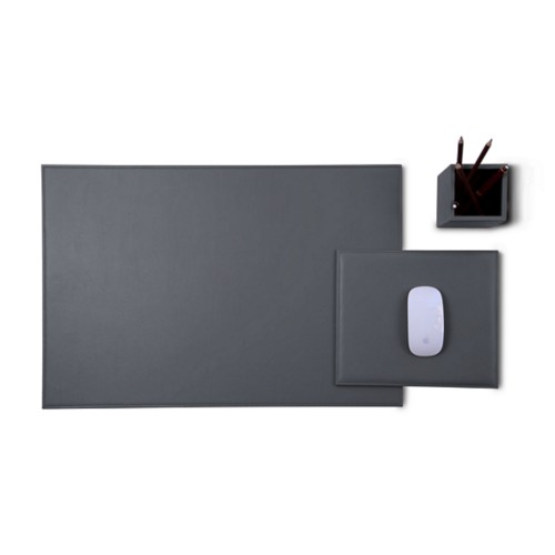 Gold Edition desk set - Mouse-Grey - Smooth Leather