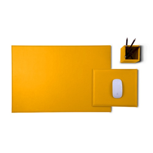 Gold Edition desk set - Sun Yellow - Smooth Leather