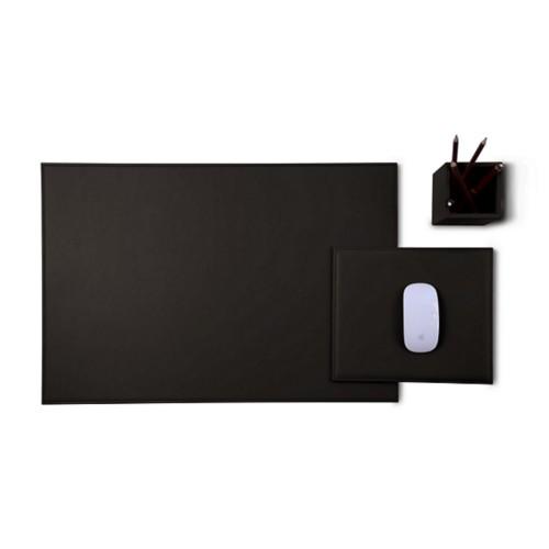 Gold Edition desk set - Dark Brown - Smooth Leather