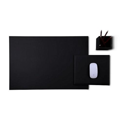 Gold Edition desk set - Black - Smooth Leather