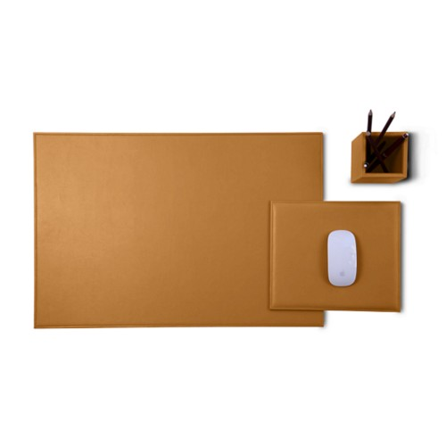 Gold Edition desk set - Natural - Smooth Leather