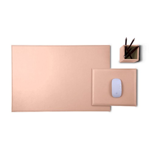 Gold Edition desk set - Nude - Smooth Leather