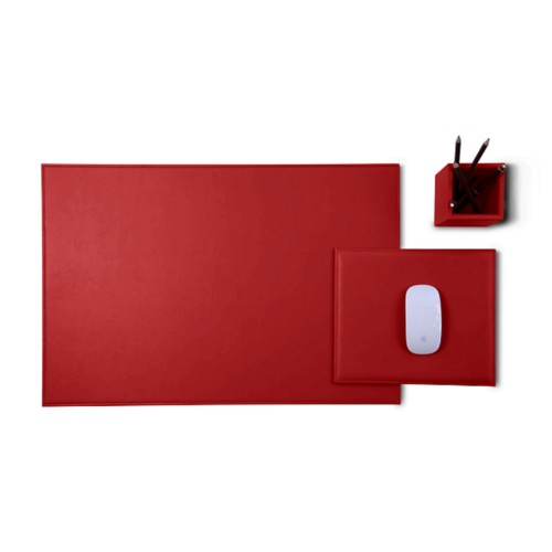 Gold Edition desk set - Red - Smooth Leather