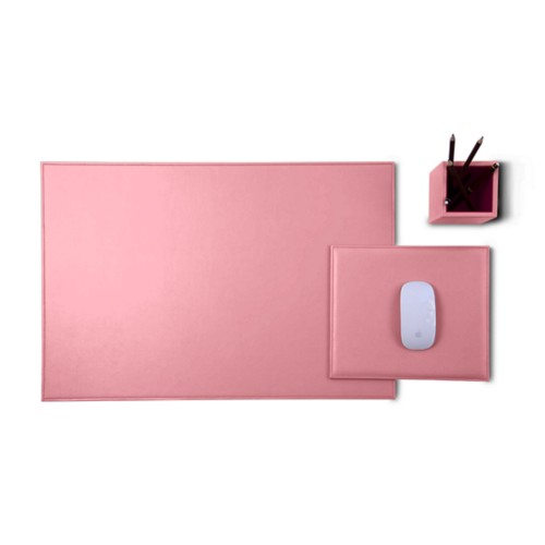 Gold Edition desk set - Pink - Smooth Leather
