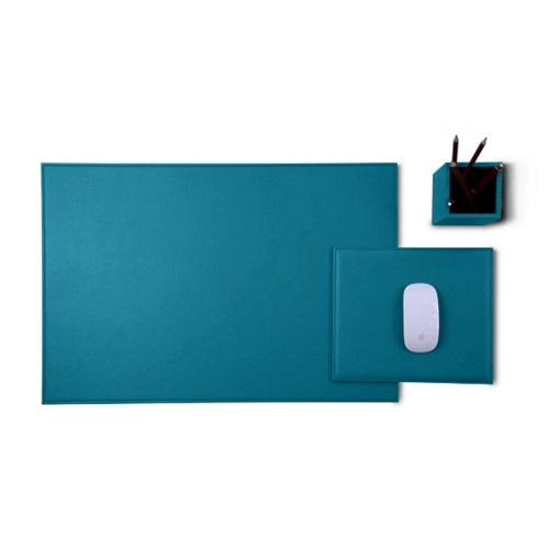 Gold Edition desk set - Turquoise - Smooth Leather