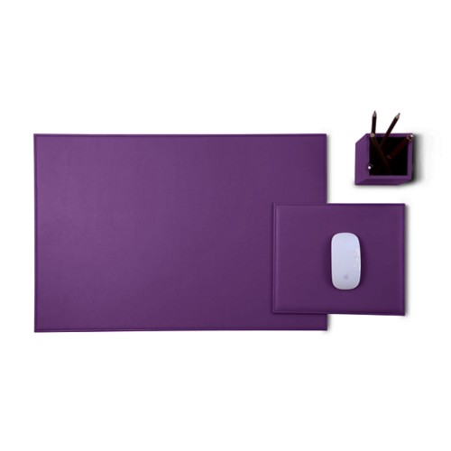Gold Edition desk set - Lavender - Smooth Leather