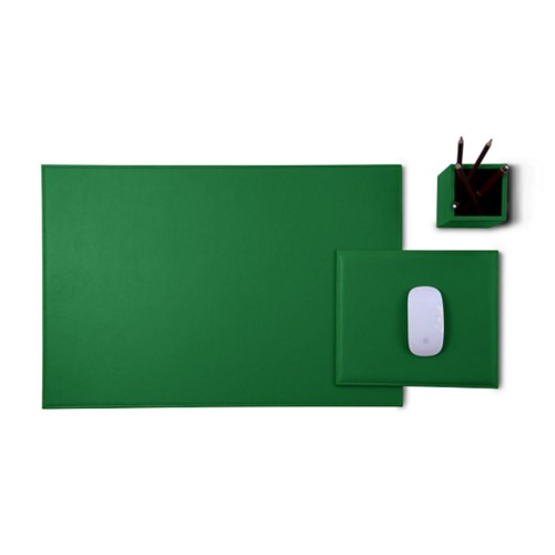 Gold Edition desk set - Light Green - Smooth Leather