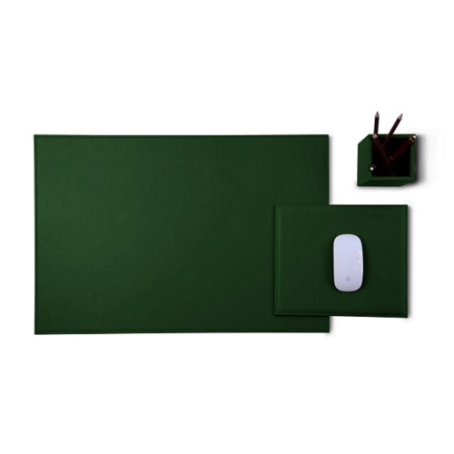 Gold Edition desk set - Dark Green - Smooth Leather