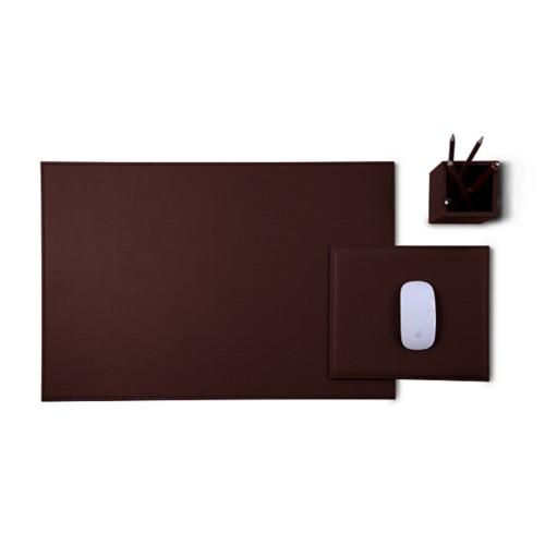Gold Edition Schreibtisch-Set - Dunkelbraun - Pflanzlich Gegerbtes Leder