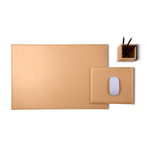 Gold Edition desk set - Natural - Vegetable Tanned Leather