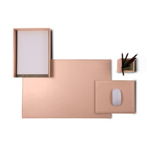 "Platinum Edition"" desk set"" - Nude - Smooth Leather"
