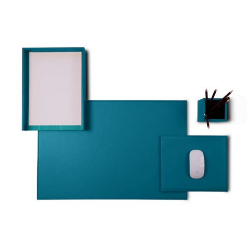 "Platinum Edition"" desk set"" - Turquoise - Smooth Leather"