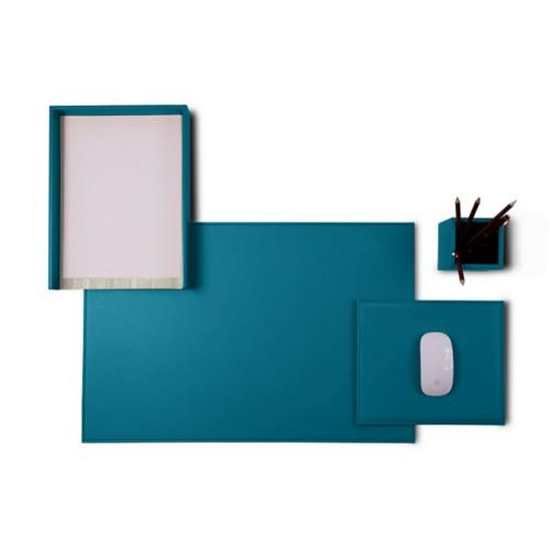 «Platinum Edition» juego de escritorio - Azul turqués - Piel Liso