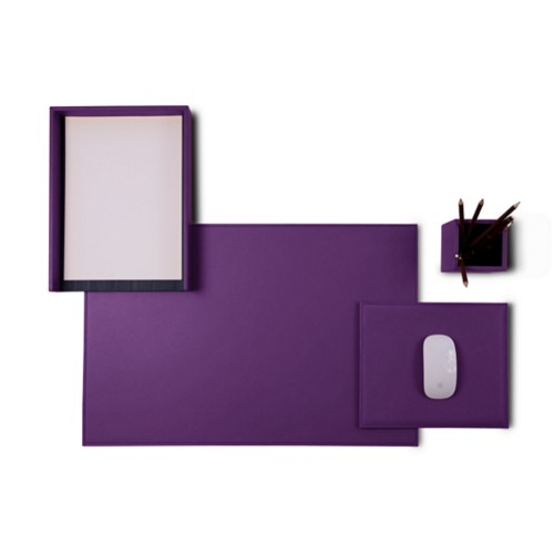 "Platinum Edition"" desk set"" - Lavender - Smooth Leather"