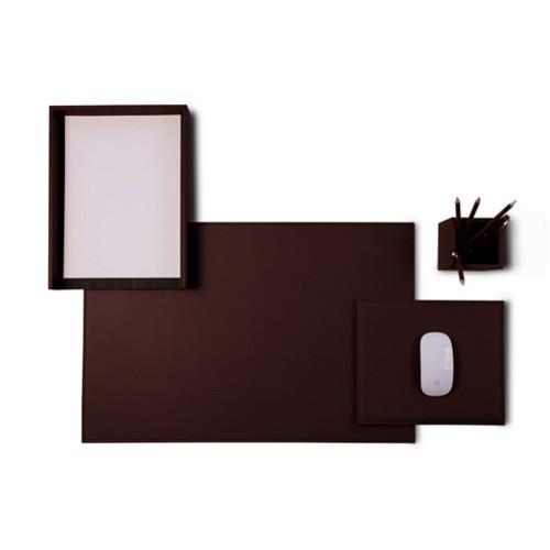 «Platinum Edition» Schreibtischset - Dunkelbraun - Pflanzlich Gegerbtes Leder