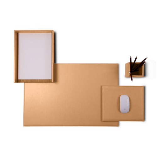 "Platinum Edition"" desk set"" - Natural - Vegetable Tanned Leather"